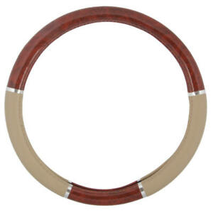 Soft Grip Leather Steering Wheel Cover Wood Style Universal Fit 14 5 15 5