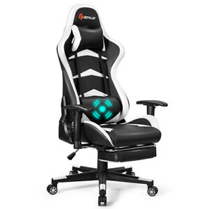 Massage Gaming Chair Reclining Racing Chair W lumbar Support footrest White