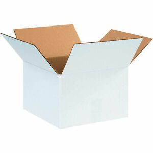 12 X 12 X 8 Cardboard Corrugated Boxes 65 Lbs Capacity Ect 32 White Lot