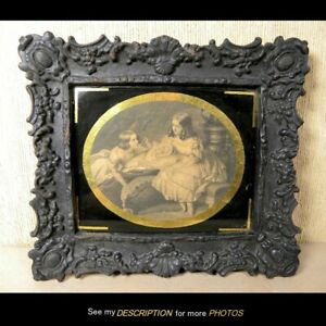 Antique Victorian Rococo Cast Iron Picture Frame Reverse Painted Gilt Mat