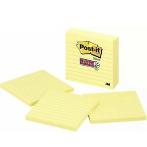 30 Pads Post it Super Sticky Notes 2x Sticking Power 4 X 4 Canary Yellow Lines