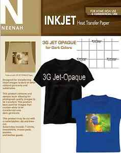 Heat Transfer Paper For Dark Colors inkjet Only 8 5x11 25 Sheets