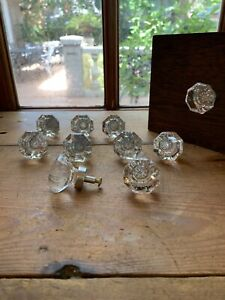 10 Clear Glass Cabinet Knobs Drawer Pulls Brushed Nickel Backing
