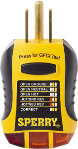 Sperry Instruments Gfi6302 Gfci Outlet Receptacle Tester Standard 120v Ac