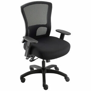 Big And Tall Mesh Back Chair Fabric Seat Black
