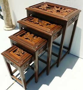 Antique Vtg Set Of 4 Chinese Carved Wood Figural Scene Glass Top Nesting Tables