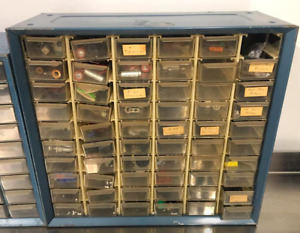loaded Vintage Akro mils 60 Drawer Blue Metal Parts Cabinet Case Electrical