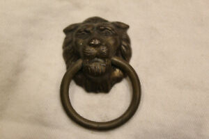 Small Bronze Amerock Lion S Head Dresser Drawer Ring Pull Drops Vintage