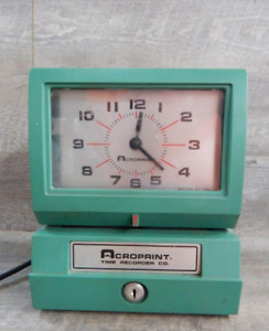 Vintage Acroprint 125nr4 Time Recorder Manual Punch Card Clock No Key