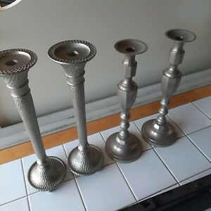 Heavy Pewter Candlesticks 2 Sets Good Condition Look Beautiful W Candles