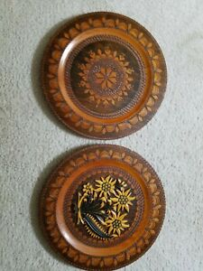 Two Vintage Hand Carved 12 Wooden Chargers Signed