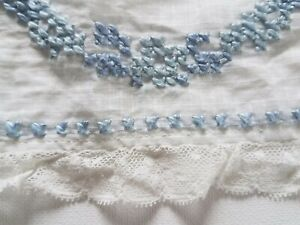 Antique Window Pane Fabric Lace Trim Embroidered 66 Doll Flounce Curtain Valance