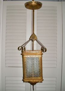 Fancy C 1885 Victorian Brass Filigree Hall Hanging Lamp Etched Glass Antique