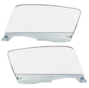 Lh Rh Complete Clear Door Glass Assemblies For 1965 66 Ford Mustang Fastback
