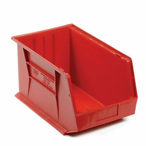 Plastic Storage Bin Small Parts 11 X 18 X 10 Red Lot Of 4