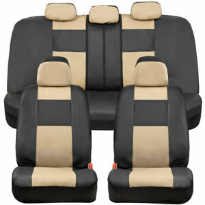 Bdk Pu Leather Full Set Car Seat Covers Front Rear Two Tone In Black Tan