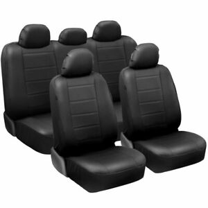 Carxs Luxurious Pu Leather Car Seat Covers Full Set Front Rear In Black