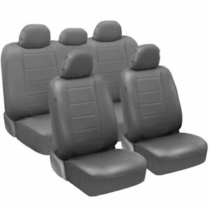 Carxs Pu Leather Car Seat Covers Full Set Front Rear Cover In Gray