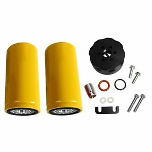 For 01 16 Gm Duramax 6 6l Diesel Cat Fuel 2 Filters Adapter Kit Lb7 Lly Lbz Lmm
