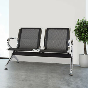 2 seat Airport Reception Waiting Room Chairs Salon Barber Bank Heavy Duty Black