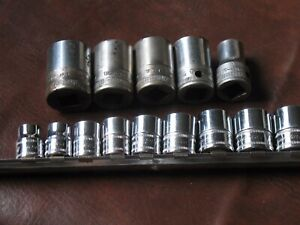Snap on Tools Sockets Assorted 1 2 Inch Sae And 3 8 Inch Metric Drive