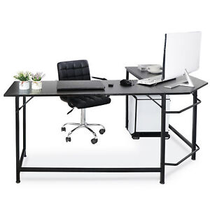 66 Modern L shaped Computer Desk Large Workstation Pc Stand With Round Corner