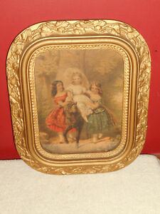 Antique Victorian Gold Gesso Wood Picture Frame Young Girls Pony Print