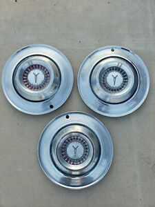 Vintage 1964 Plymouth 14 Hubcap Wheelcover Center Cap Set Of 3 Free Shipping