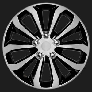 Carxs 4 Piece Set Of 16 Inch Black Silver Trim Hub Caps Wheel Covers Cap Covers