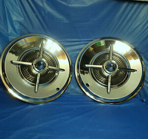 Pair Of 15 Lancer Style Aftermarket Accessory Hubcaps W Bullet Center Hot Rod