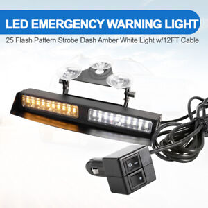 Led Emergency Strobe Dash Light 25 Flash Patterns Amber White Light W 12ft Cable