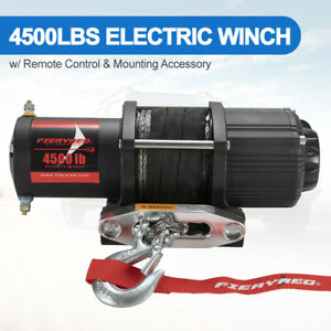 Electric Winch 4500lbs Synthetic Rope For Offroad Boat Atv Utv W Remote Control