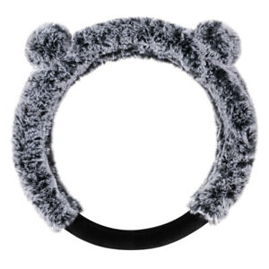 Bear Fur Plush Steering Wheel Cover Cute Faux Wool Protector For Women Girls