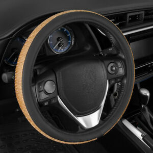 Bling Diamond Leather Steering Wheel Cover W Crystal Rhinestones Universal Fit