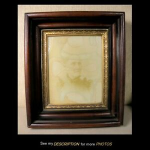 Antique Victorian Black Walnut Shadowbox Picture Frame Ebonized