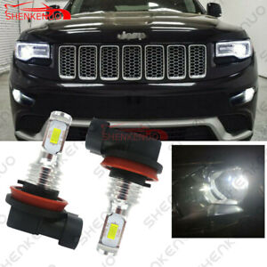2x 100w Bright White H11 Led Fog Light Bulbs For 2014 2017 Jeep Grand Cherokee