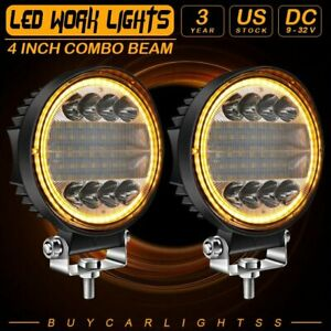 Pair 5 inch 160w Round Led Work Light Spot Flood Driving Fog Amber Lamp Offroad