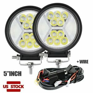 Pair 5 Led Work Light Round Spot Flood H L Fog Driving To Suv Atv Offroad Wire