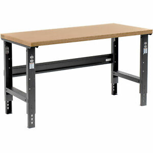 Adjustable Height Workbench C channel Leg 60 w X 36 d 1 1 2 Shop Top Square