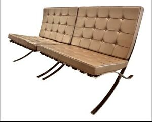 Pair Mid Century Mies Van Der Rohe Barcelona Vintage Chairs In Brown Leather
