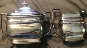 Antique 1810 Lewis Smith Large Sterling Silver Creamer Lidded Sugar 26 55oz