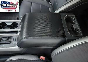 For Ford F 150 15 19 Car Carbon Fiber Leather Armrest Cover Center Console Lid
