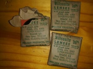 Vintage Goggle Lenses Shade 2 5 January 1952 U s Navy Contract Steam Punk