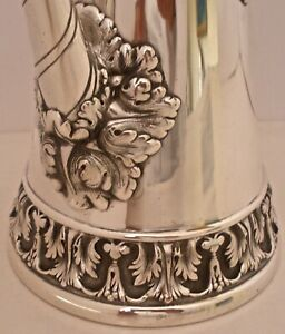 American Aesthetic Movement Whiting Sterling Hand Chased Coffee Chocolate Pot