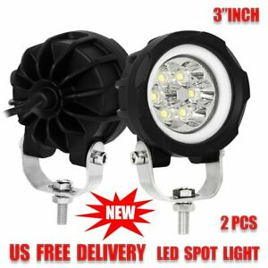 Pair 3 Drl Led Work Light Round Spot Fog Lamp Offroad Driving 4x4 Truck Suv Car