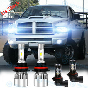 For 2003 2005 Dodge Ram 1500 2500 3500 Led Projector Headlight Bulbs Hi Lo Fog