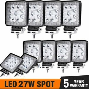10pcs 27w Led Work Light Spot Lights For Truck Off Road Tractor 12v 24v Square