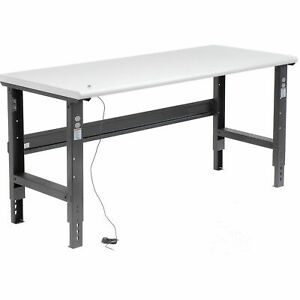 Adjustable Height Workbench C channel Leg 72 w X 30 d 1 1 4 Esd Safety Edge