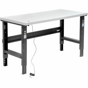 Adjustable Height Workbench C channel Leg 60 w X 30 d 1 1 4 Esd Square Edge