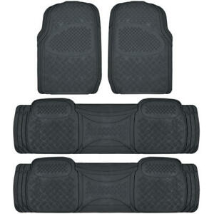 4 Piece Full Set Floor Mats For Honda Odyssey 3 Row Black Semi Custom Fit